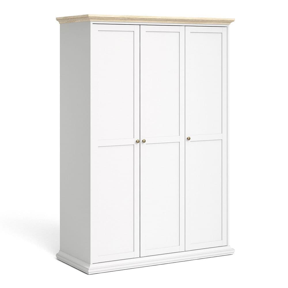 Parisian Chic Parisian Chic Wardrobe with 3 Doors in White and Oak